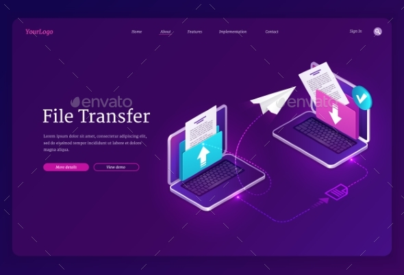 Vector Banner of File Transfer Exchange Documents
