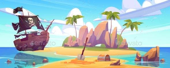 Broken Pirate Ship and Treasure Chest on Island