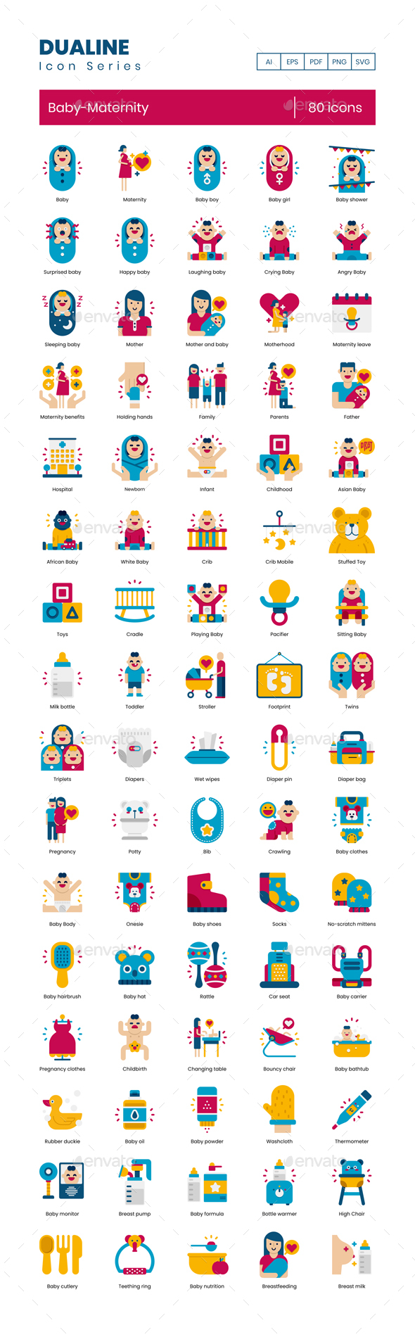 80 Baby-Maternity  Icons | Dualine Flat Series