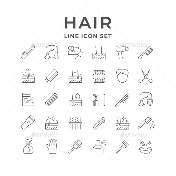 Set Line Icons of Hair