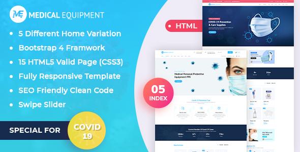 Medical Equipment - PPE Kit Responsive HTML Template