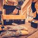 Wood Frame Construction Worker Taking Large Screws - PhotoDune Item for Sale