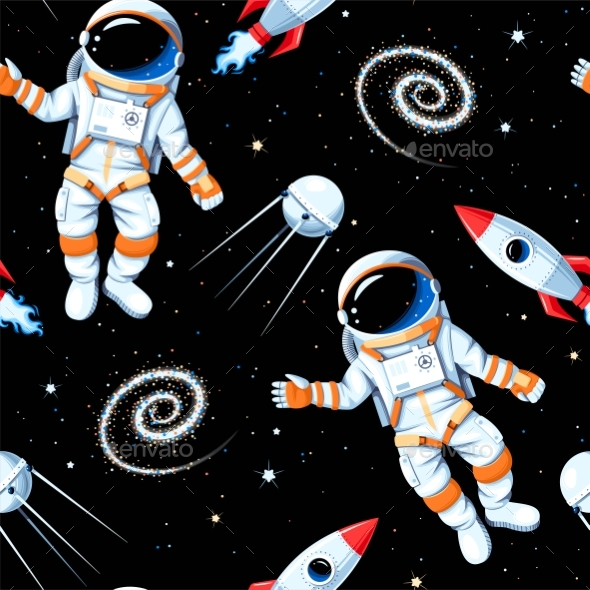 Vector Seamless Pattern with Astronaut and Rocket