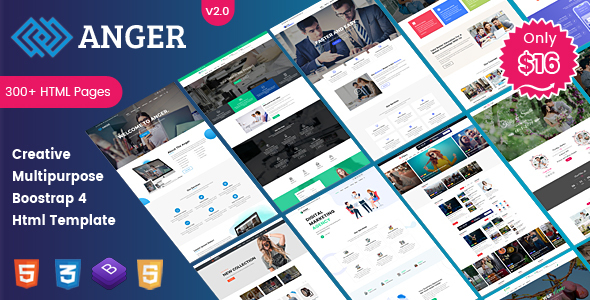 Anger Multipurpose - Creative Agency, Corporate and Portfolio Bootstrap 4 Multi-Purpose Template