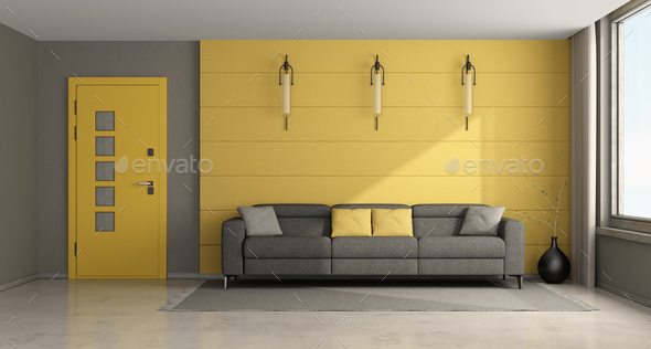 Modern yellow and gray living room - Stock Photo - Images