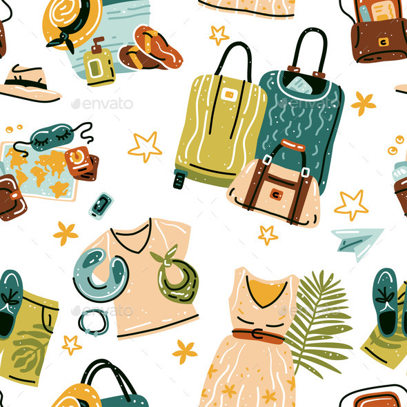 Seamless Pattern with Travel Stuff Objects