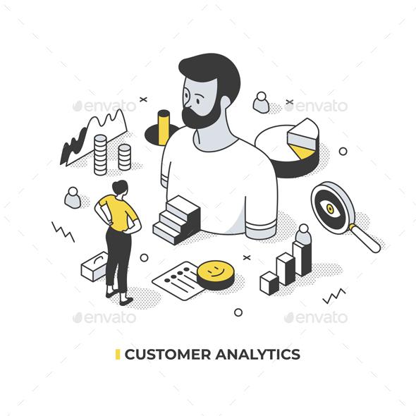 Analytics of Male Customer. Isometric Illustration