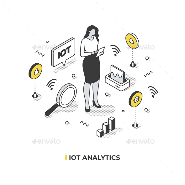 IOT Analytics Isometric Illustration