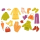 Autumn Clothing Cute Stickers Isolated Set
