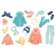 Winter Clothing Cute Stickers Isolated Set