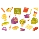School Supply Cute Stickers Isolated Set