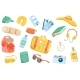 Travel Accessory Cute Stickers Isolated Set