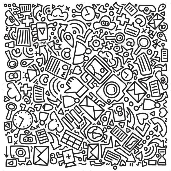 Social Media Doodle Pattern Square Composition