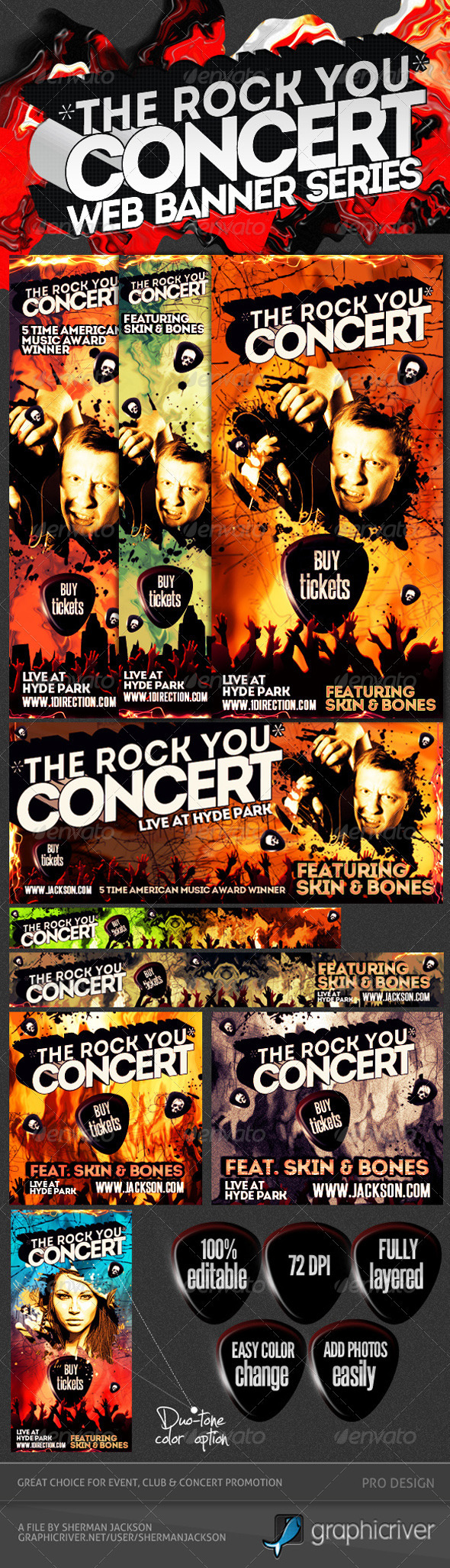 Concert & Event Web Banners & AD Kit PSD - 2 - Banners & Ads Web Elements