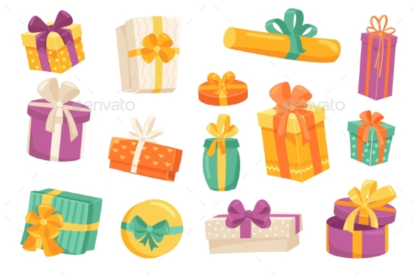 Gift Boxes Cute Stickers Isolated Set