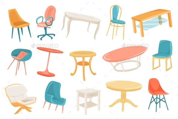 Furniture Cute Stickers Isolated Set