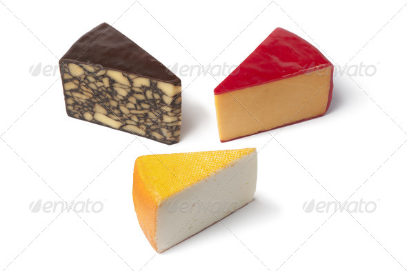 Three pieces of different type of cheese - Stock Photo - Images