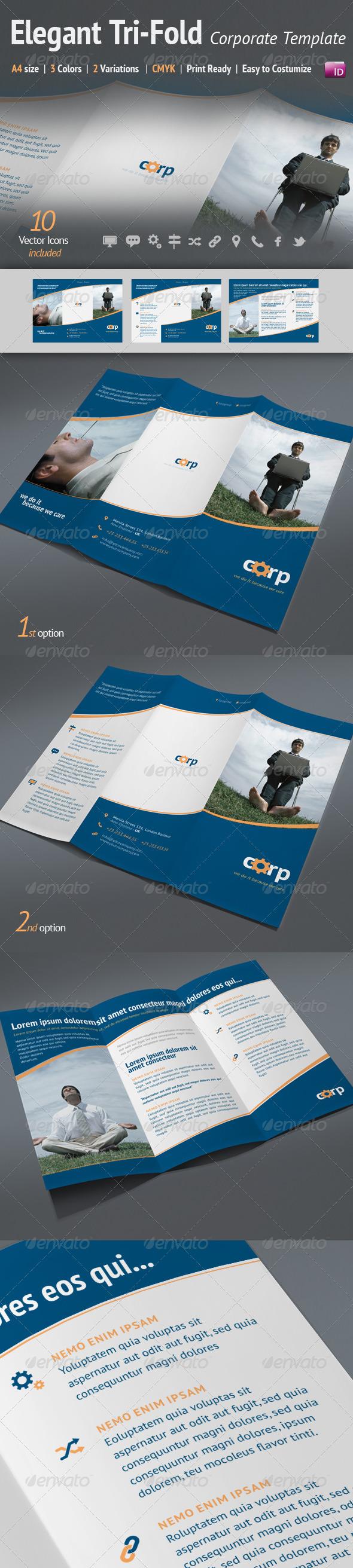 A4 Tri-Fold Elegant Corporate Template | 3 Colors - Corporate Brochures
