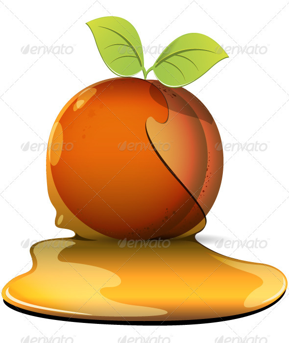 peaches in caramel - Food Objects
