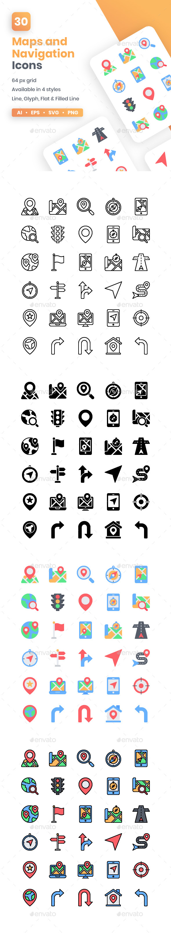 Maps And Navigation Icons