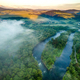 Fog and Mist at Sunrise Over Dunajec River in Pieniny, Poland. Aerial Drone View - PhotoDune Item for Sale