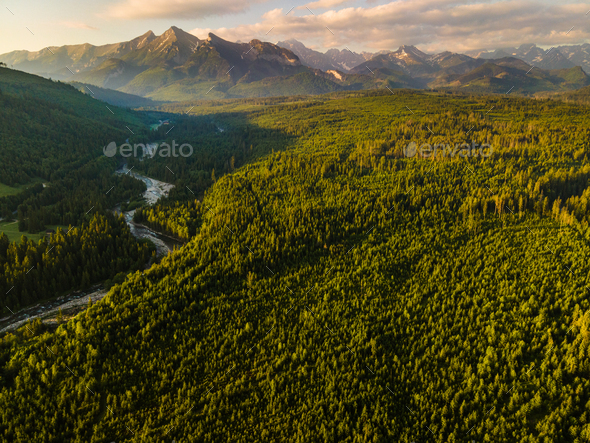 Panoramic View Over Tatra Mountains Landscape at Sunrise. Aerial Drone View - Stock Photo - Images