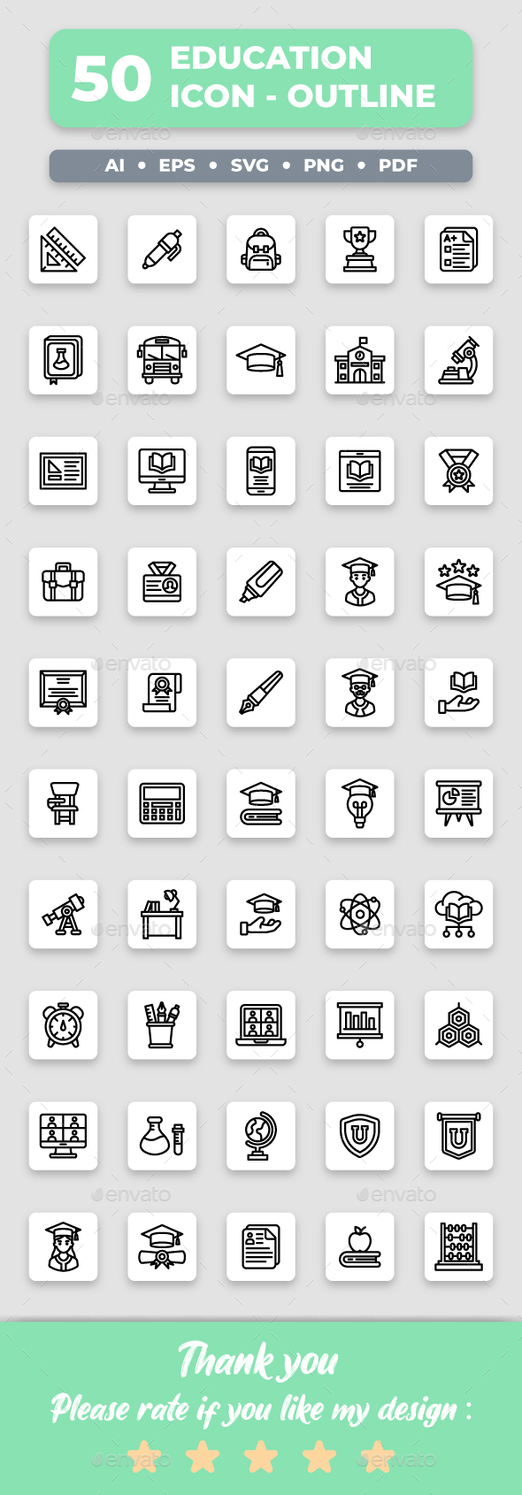 Education - Outline Collection Icon Set