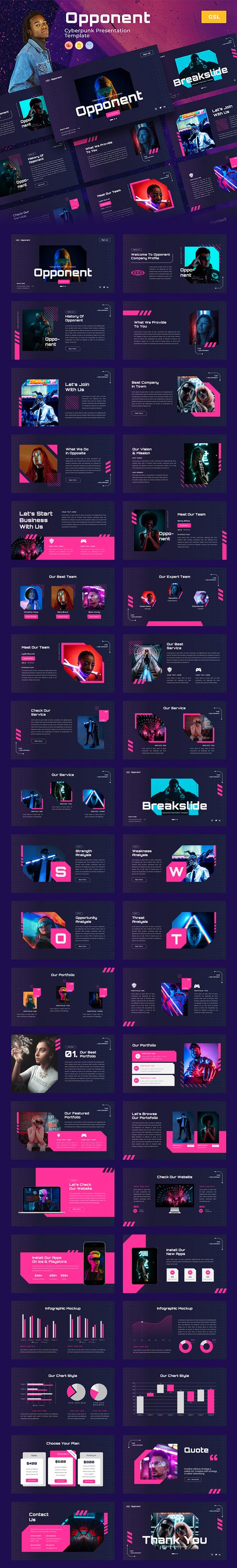Opponent – Cyberpunk & Neon Google Slides Template