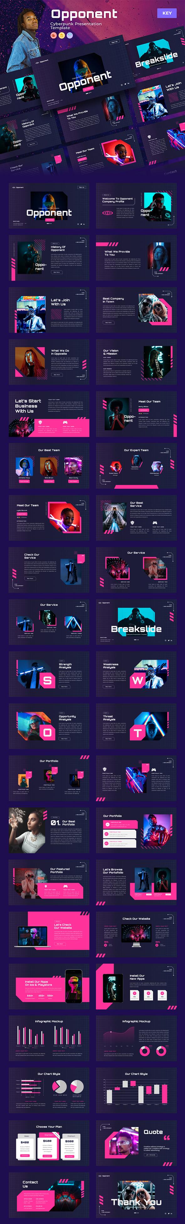 Opponent – Cyberpunk & Neon Keynote Template