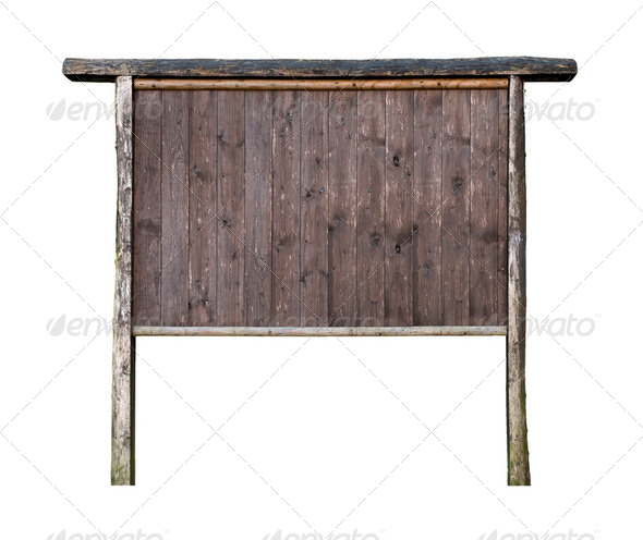 Old Wooden signboard isolated on white - Stock Photo - Images