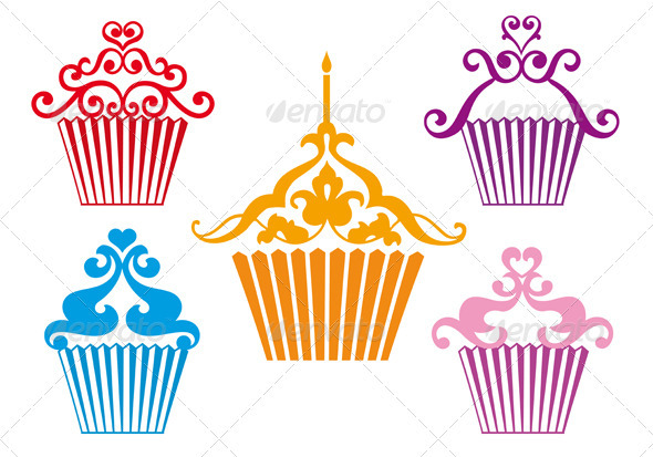 Set Of Cupcake Designs, Vector - Food Objects