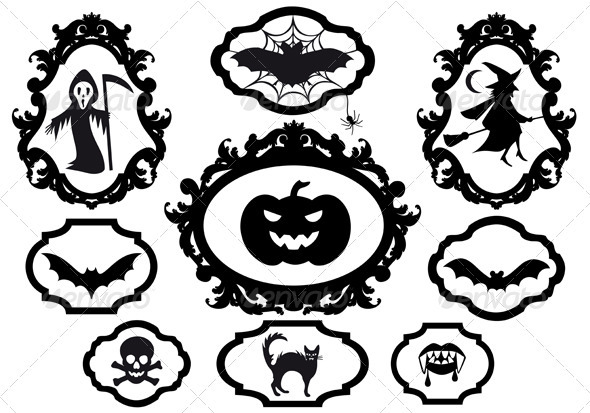 Halloween Icons In Frames, Vector - Halloween Seasons/Holidays
