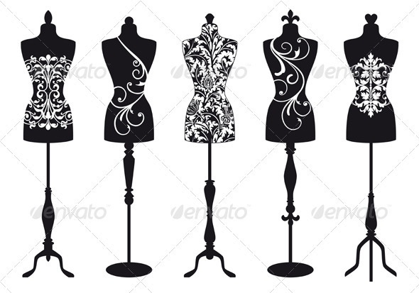 Fashion Mannequins, Vector Set - Man-made Objects Objects