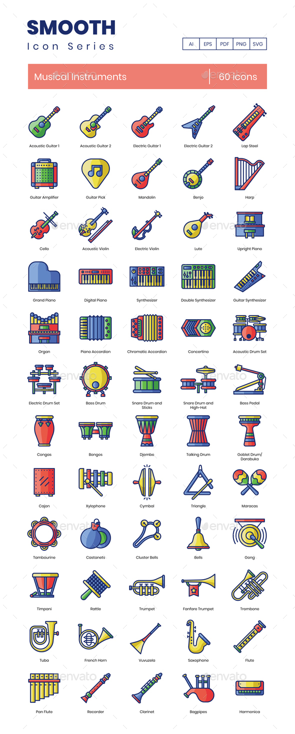 60 Musical Instruments Icons | Smooth Series