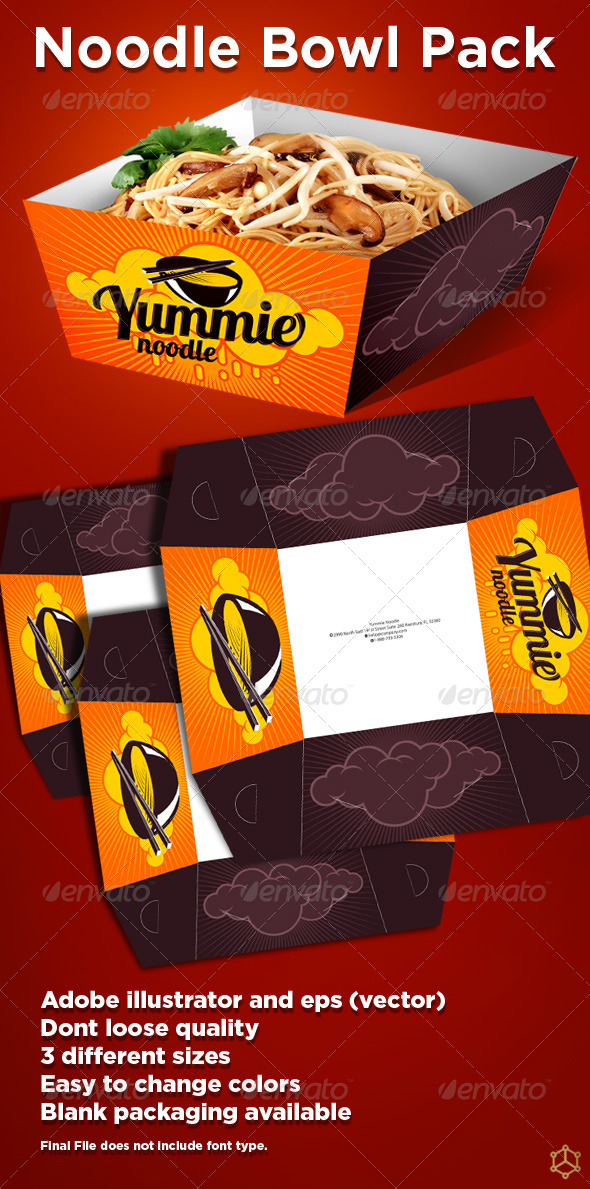 Noodle Bowl Pack - Packaging Print Templates