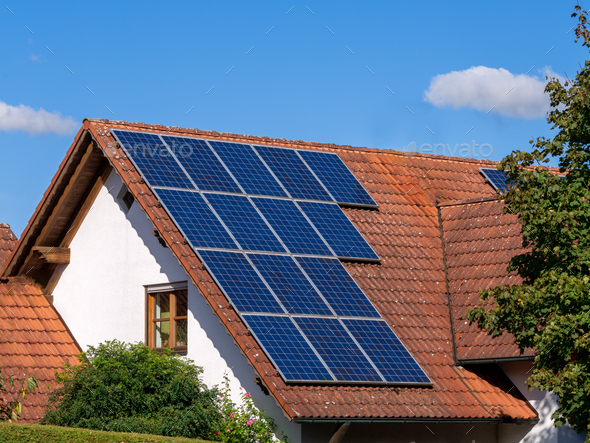 Generic house photovoltaic system - Stock Photo - Images