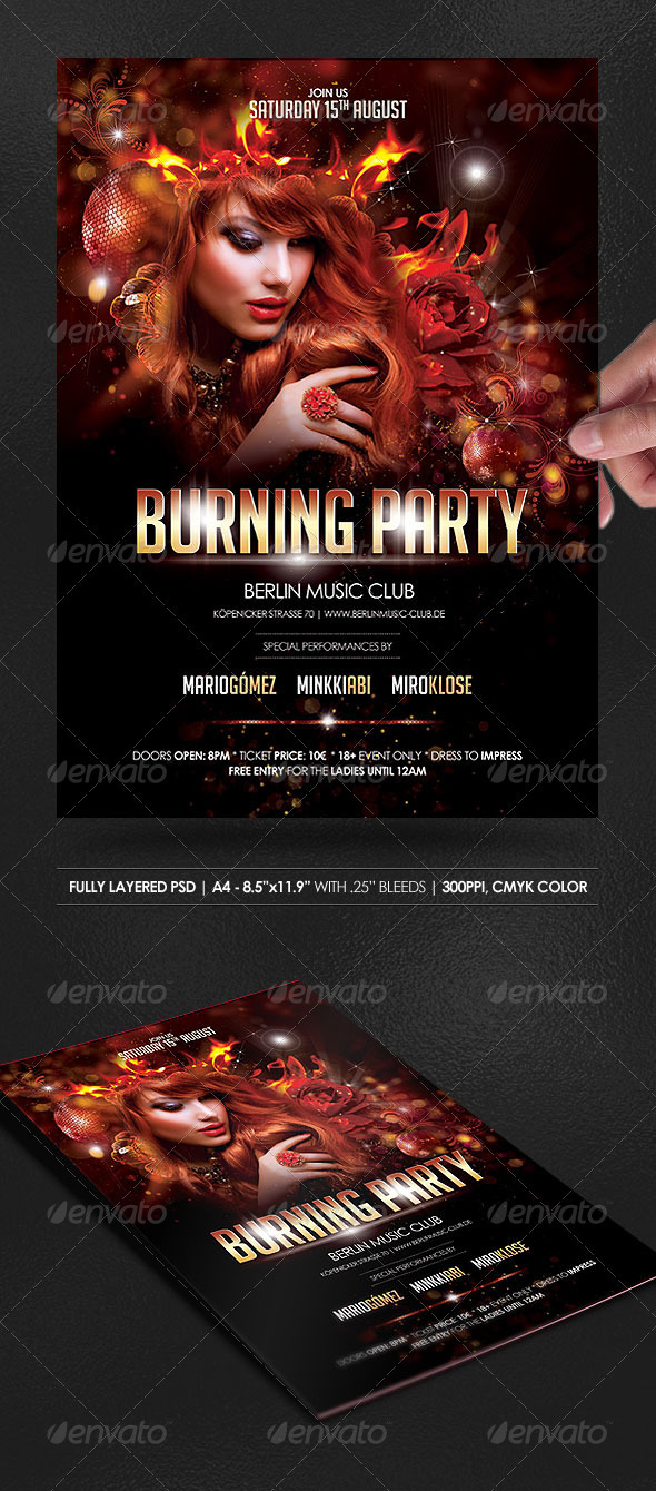 Burning Party Poster/Flyer - Events Flyers