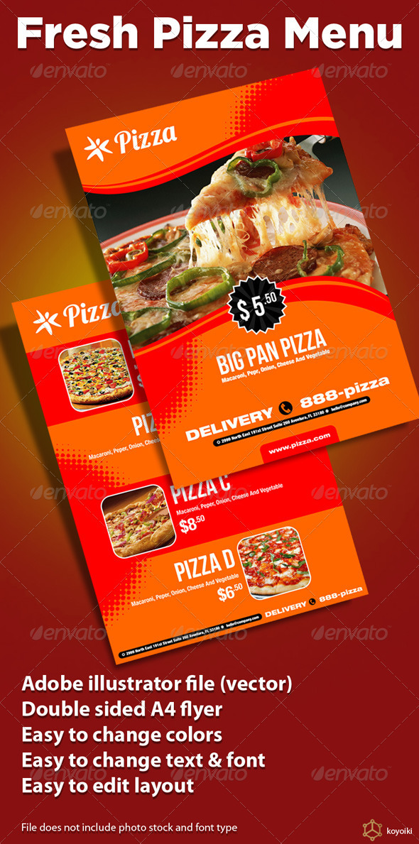 Fresh Pizza Menu - Restaurant Flyers