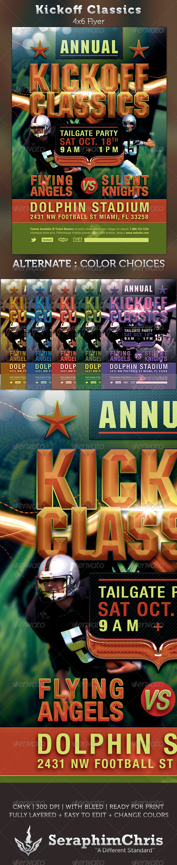Kickoff Classics Football Flyer Template - Sports Events