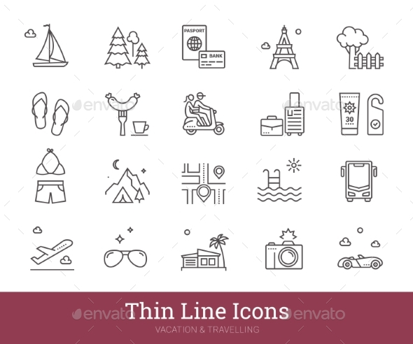 Traveling Road Trip Summer Holiday Linear Icons