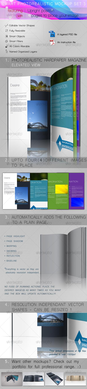 Smart Photorealistic Mockup Set 3 - Magazines Print Templates