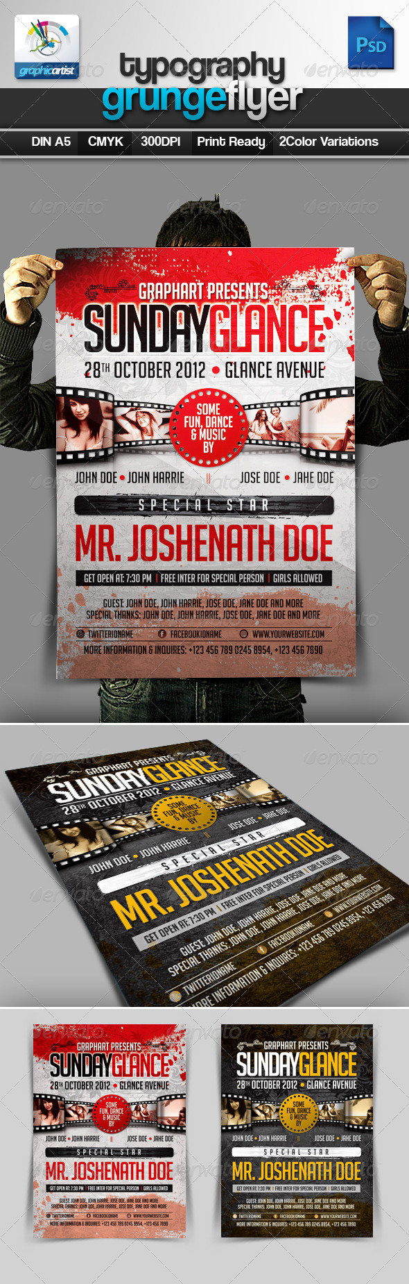Typography Grunge Flyer - Miscellaneous Events
