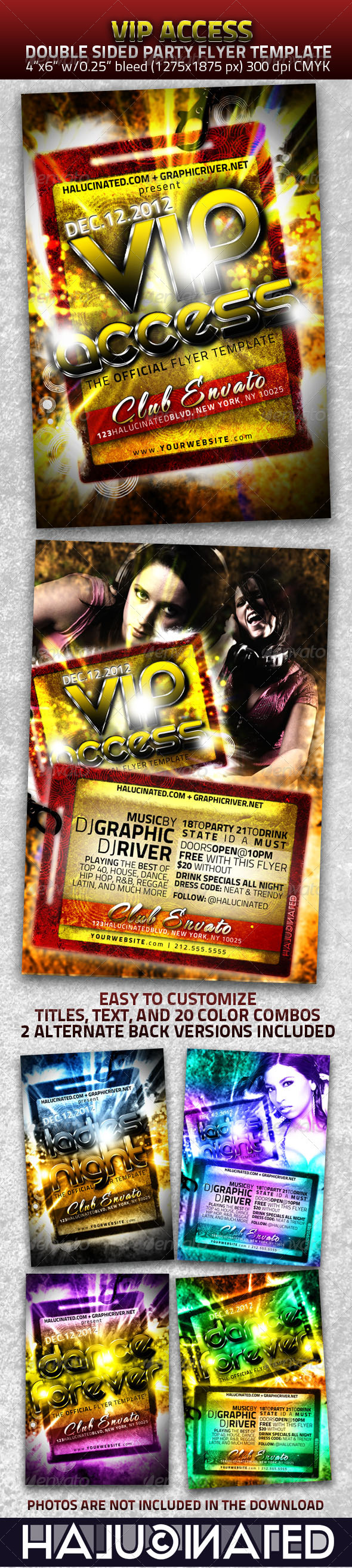 VIP Access Double Sided Party Flyer Template - Clubs & Parties Events