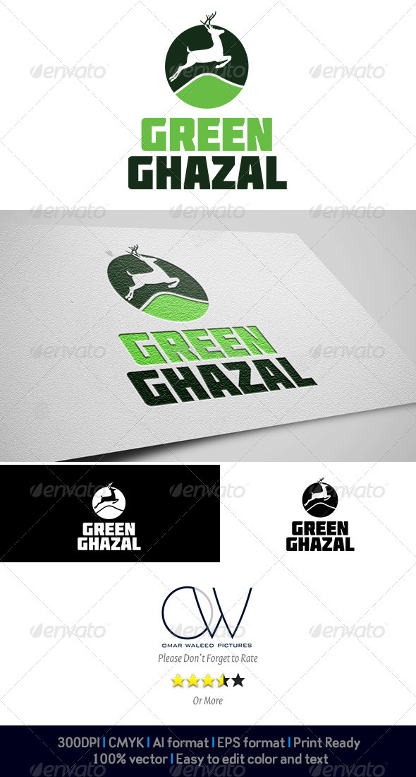 Green Ghazal Logo - Animals Logo Templates