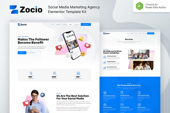 Zocio – Social Media Marketing Agency Elementor Template Kit