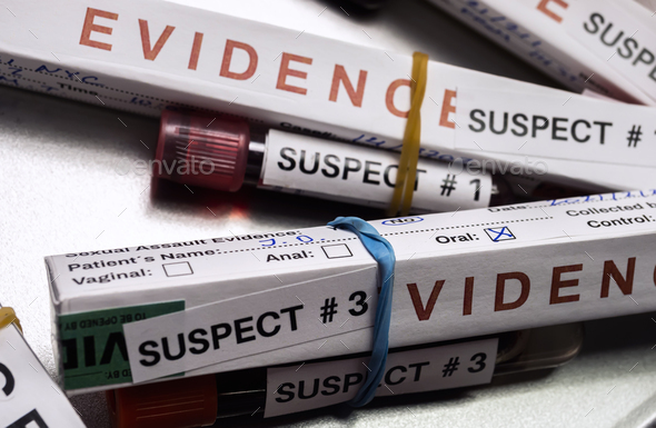 Various analyses of urine, saliva and blood of homicide suspects in crime lab, conceptual image. - Stock Photo - Images