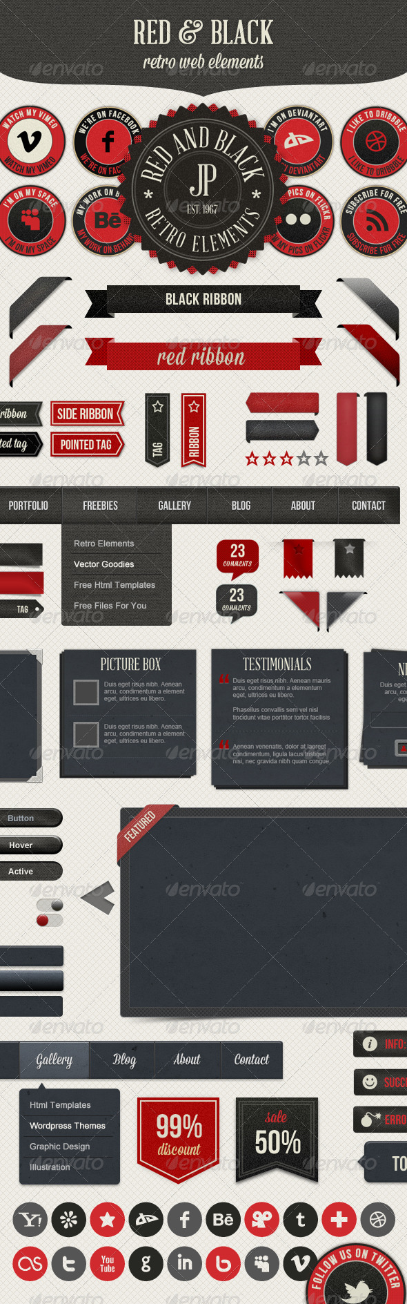 Retro Web Elements - Red & Black Pack - Miscellaneous Web Elements
