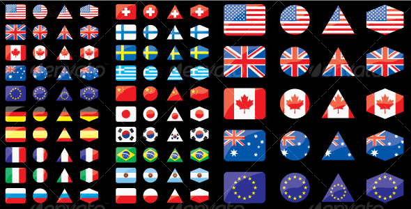 Shaped flags - Objects Vectors