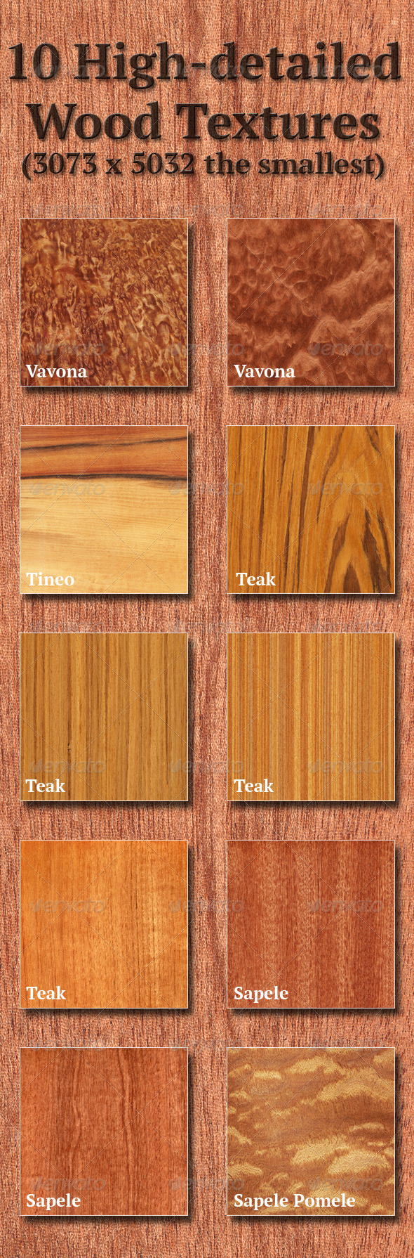 High-Detailed Wood Textures Set 6 - Wood Textures