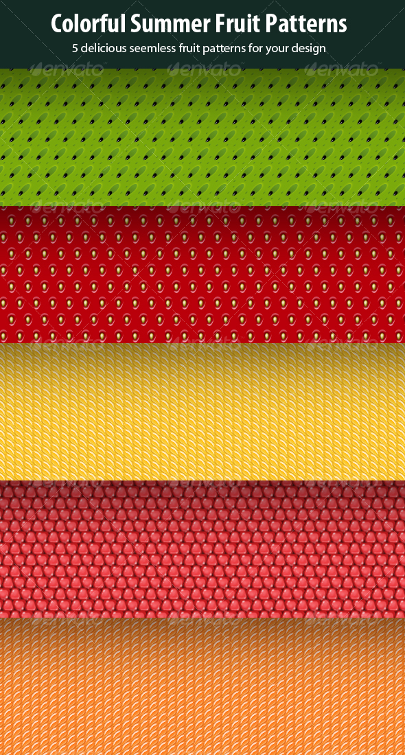 5 in 1 Seamless Fruit Patterns - Backgrounds Graphics